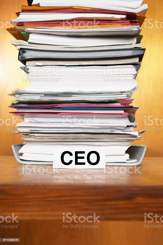 Overflowing Inbox of CEO stock photo