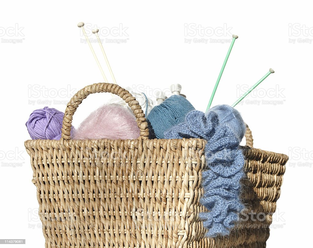 overflowing knitter's basket royalty-free stock photo