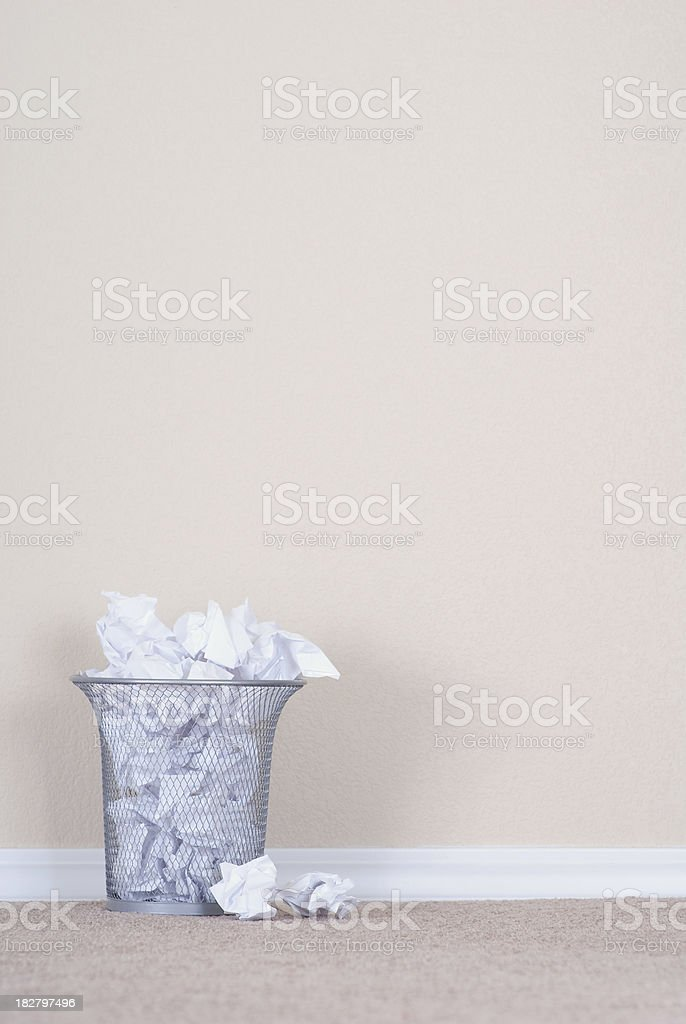 Overflowing Trash Can stock photo