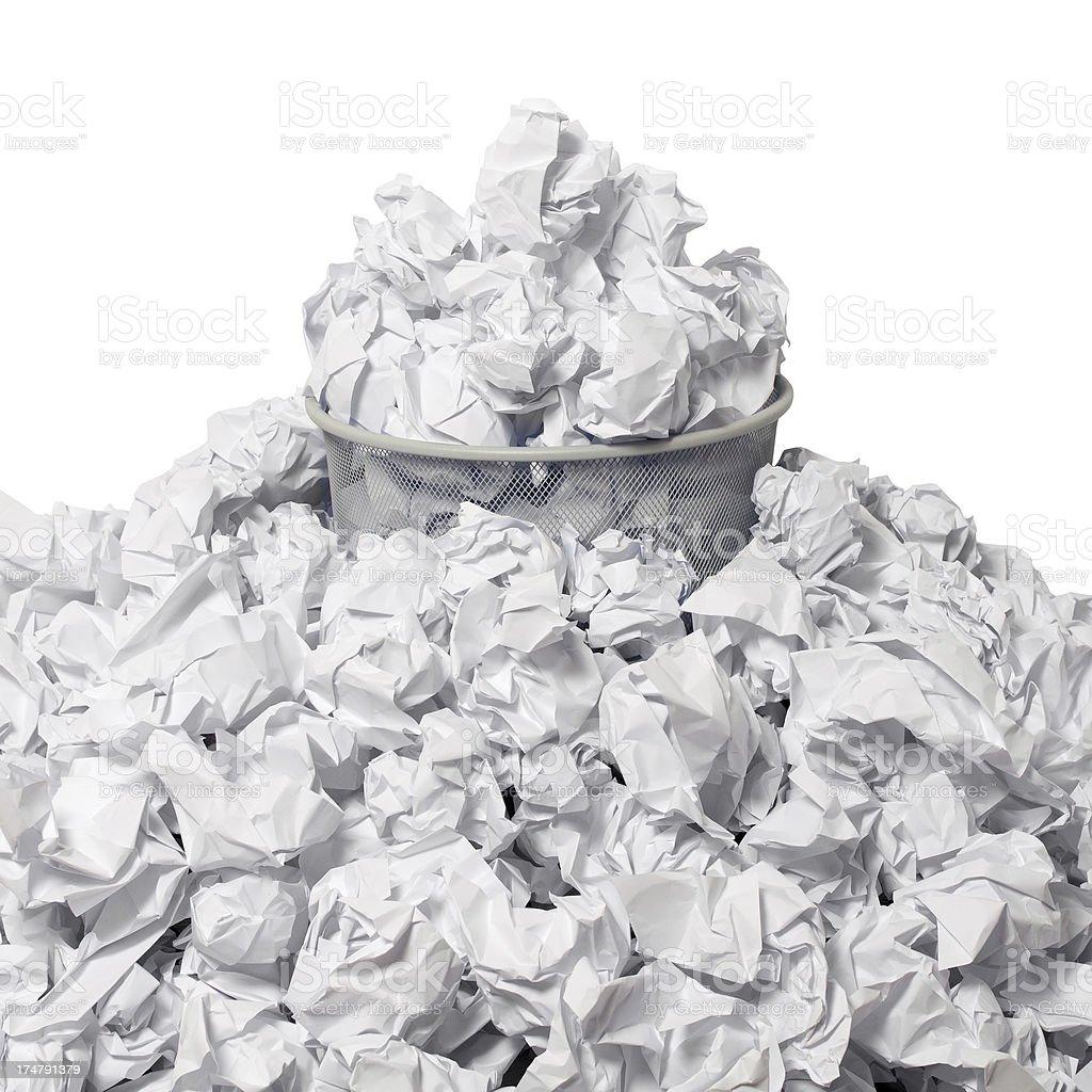 Overflowing Wastepaper Basket royalty-free stock photo