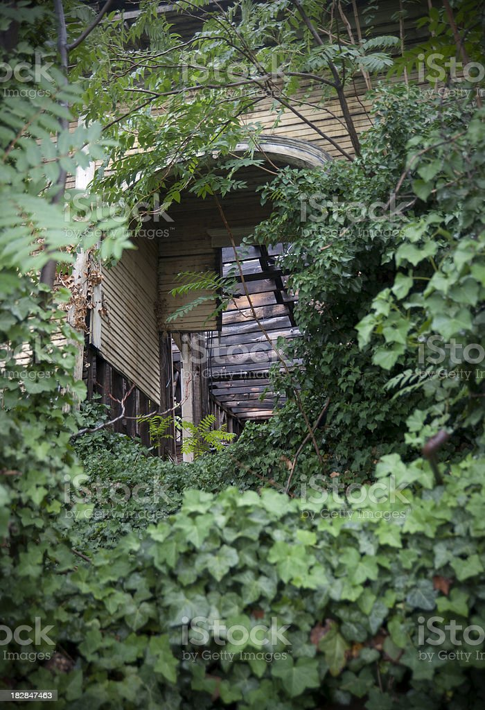 Overgrown burnt building royalty-free stock photo