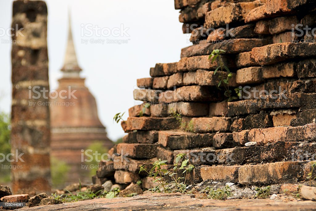 overgrown old brick wall sukhothai royalty-free stock photo