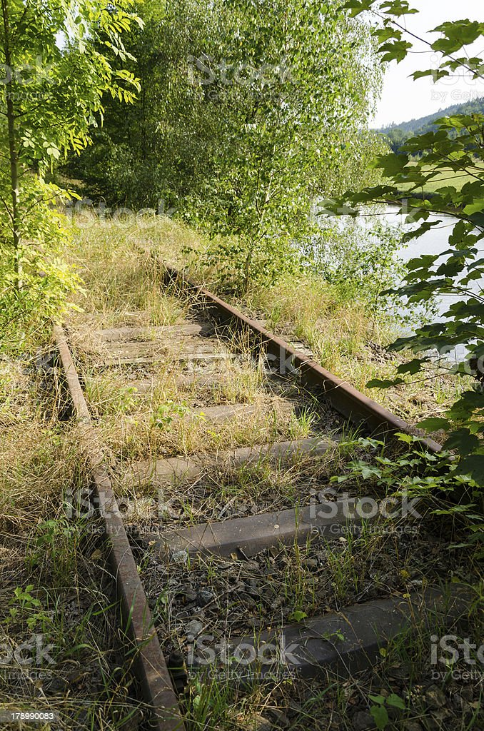 overgrown railroad tack beside a river stock photo