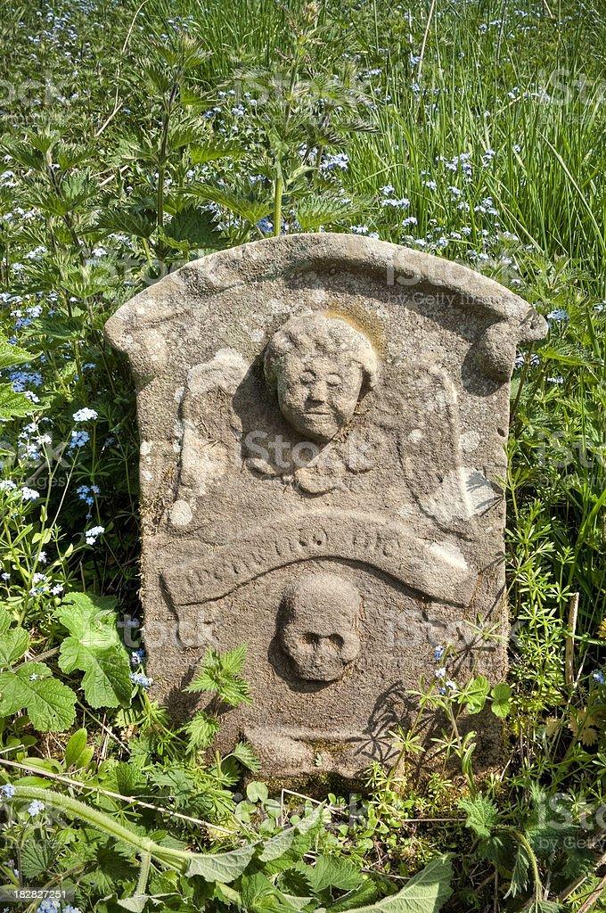 Overgrown symbolic gravestone, Scottish Borders, UK stock photo