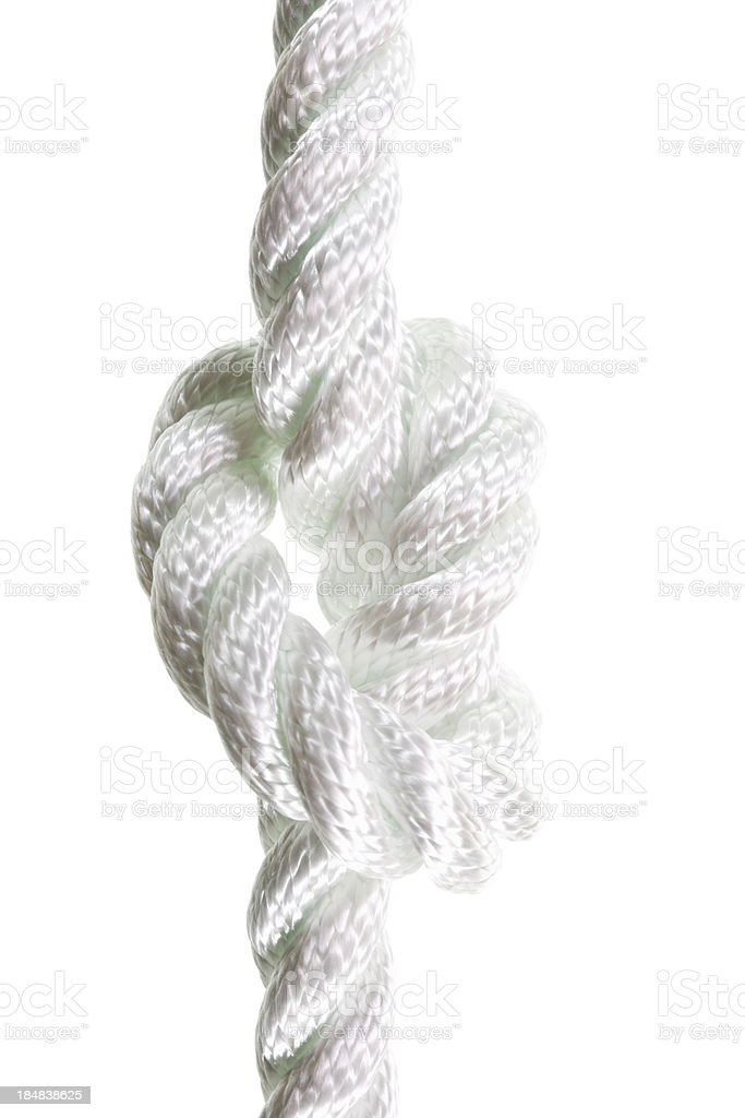 overhand knot isolated on white stock photo