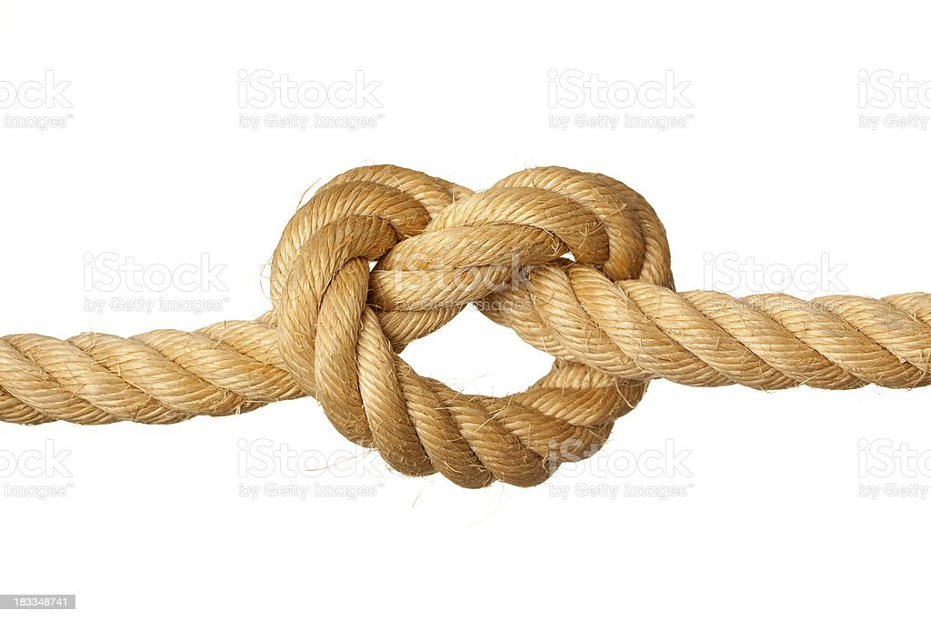 Overhand knot. stock photo