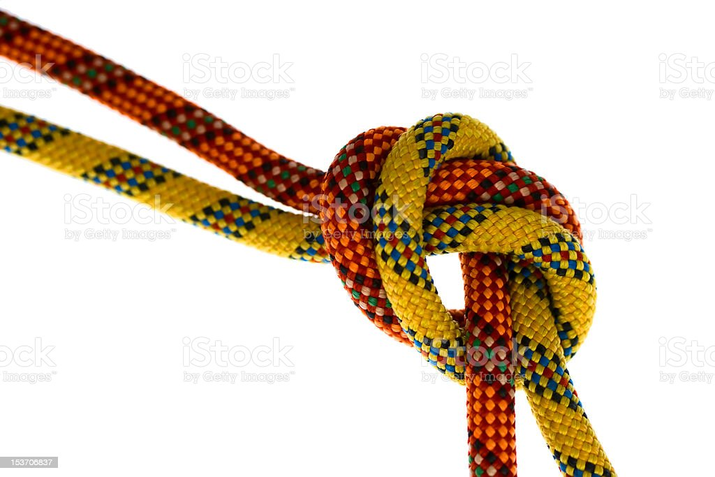 Overhand Knot with Climbing Rope stock photo