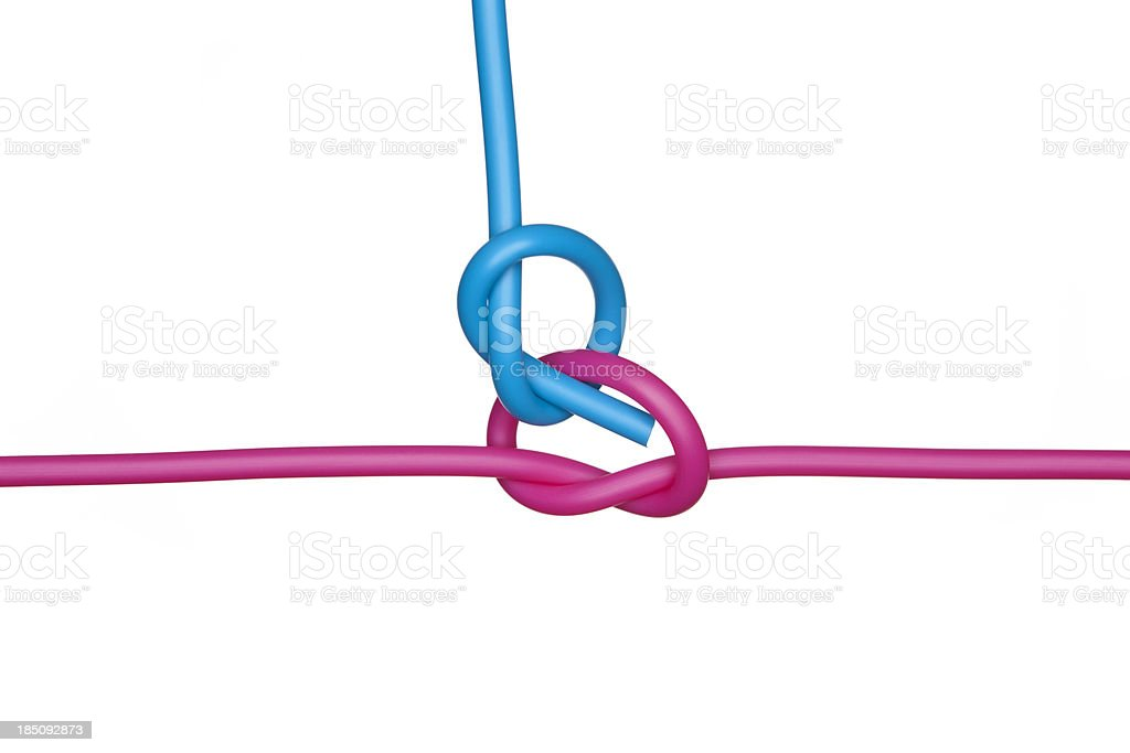 Overhand knots connection. stock photo