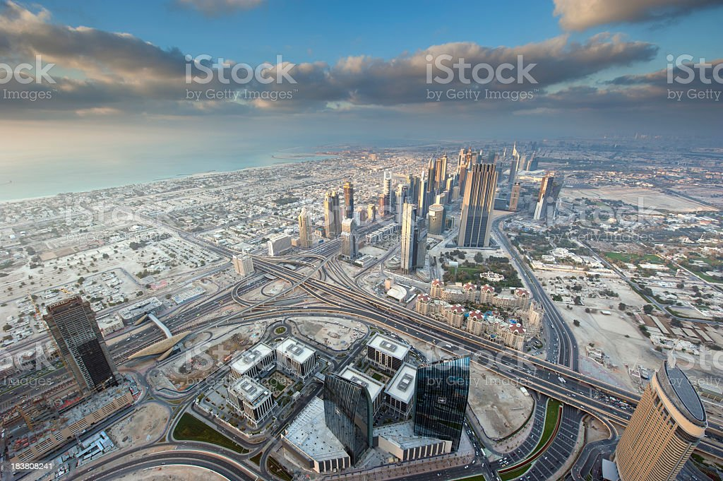Overhead aerial view of Dubai city stock photo