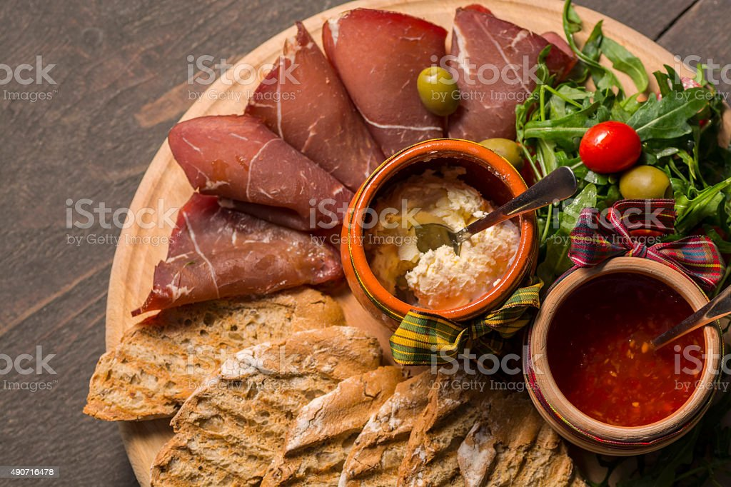 Overhead appetizer royalty-free stock photo