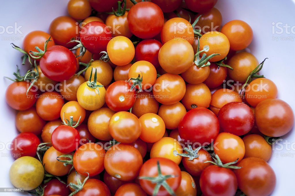 Overhead Bunch of Cherry Tomatoes stock photo