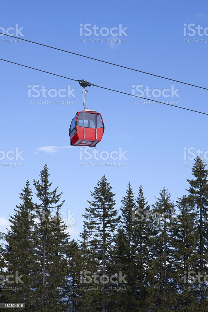 overhead cable car against a blue sky royalty-free stock photo