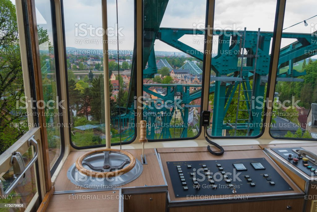Overhead cable car in Dresden - historic attraction for tourists stock photo