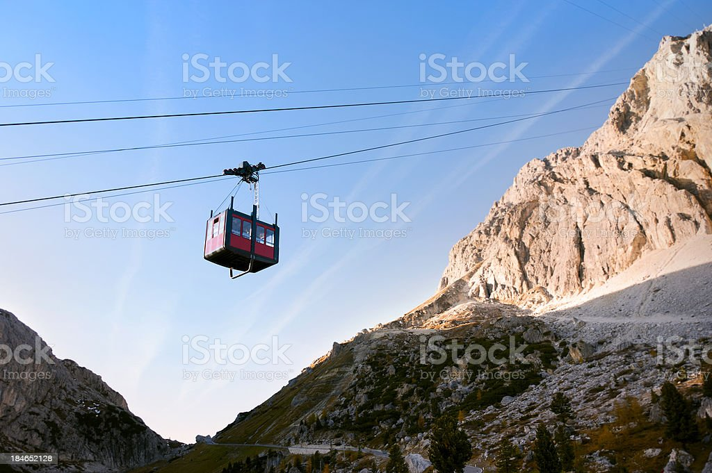 Overhead cable car in Italy royalty-free stock photo