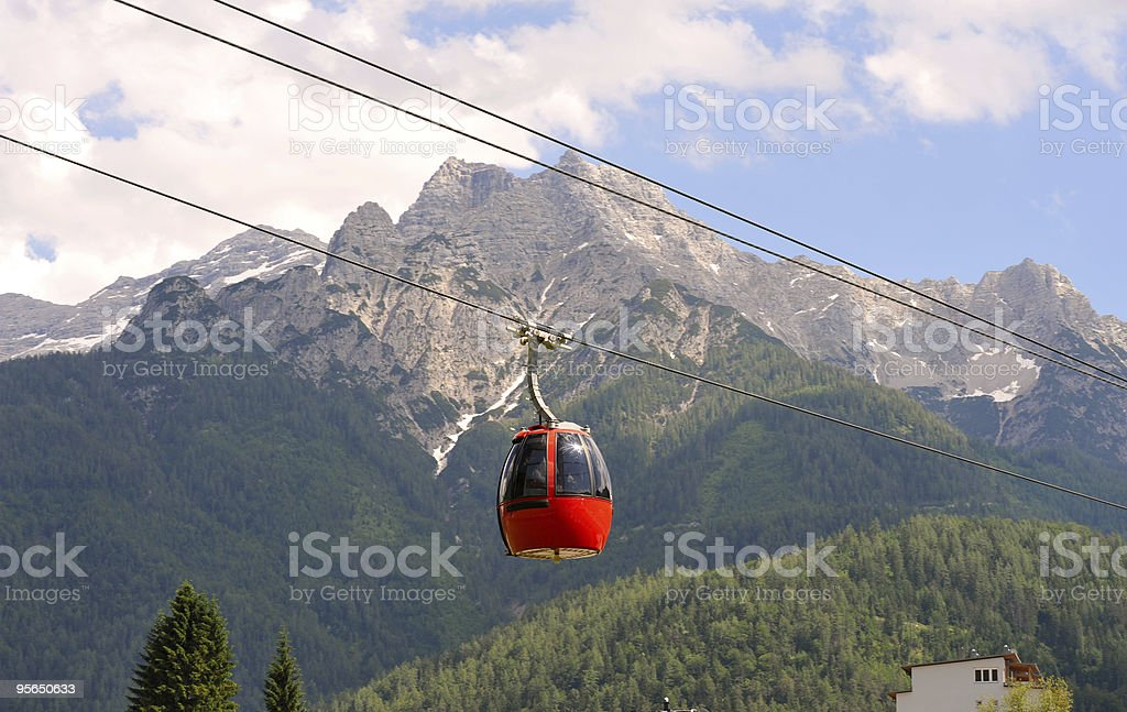Overhead Cable Car in Summer stock photo