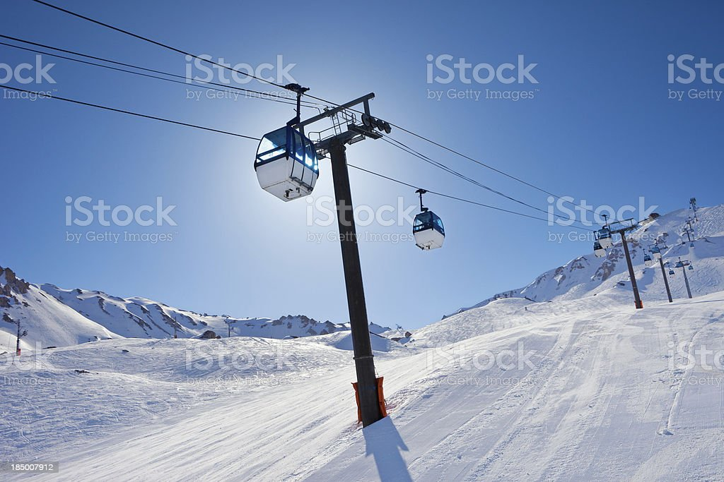 Overhead cable car - ski resort in Alps Mountains stock photo
