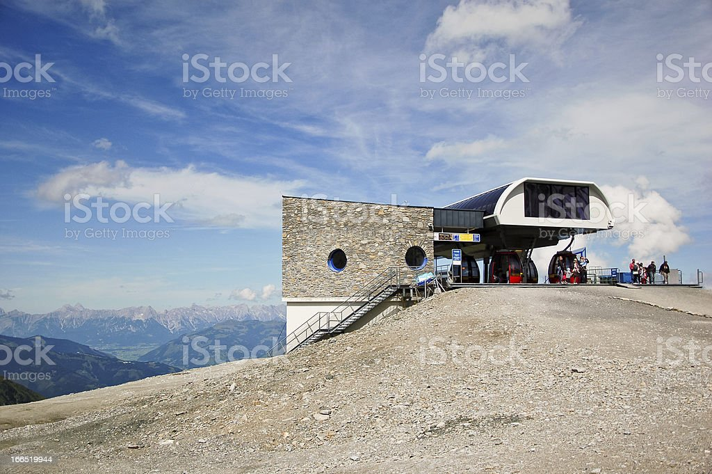 Overhead cable car station on a mountain stock photo