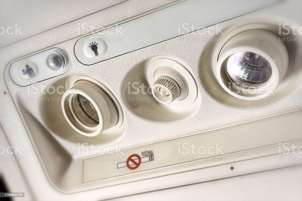 Overhead Console Of A Passenger Aircraft stock photo
