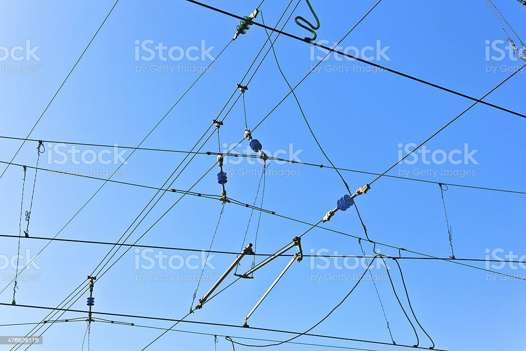 Overhead contact wires stock photo