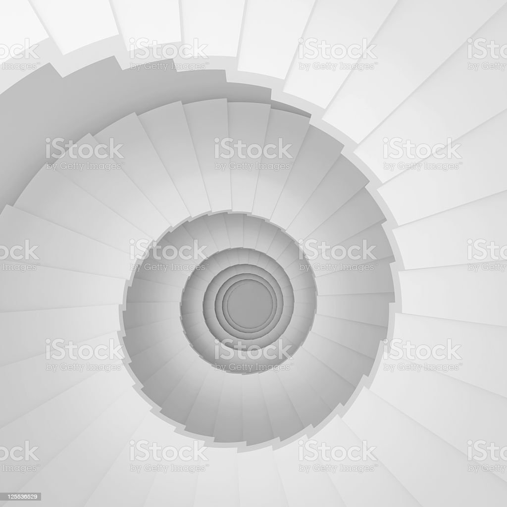Overhead digital image of a long white spiral staircase stock photo