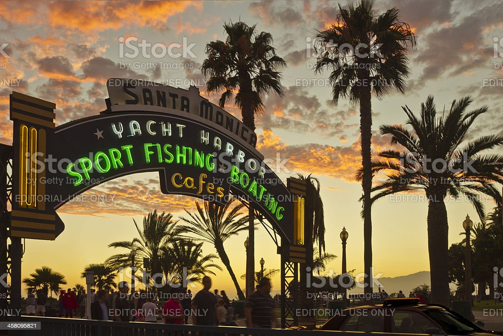 Overhead Entrance Sign To Santa Monica Pier At Sunset royalty-free stock photo