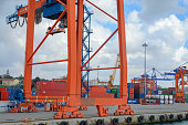 Overhead gantry cranes in the Port of Haydarpasa container terminal