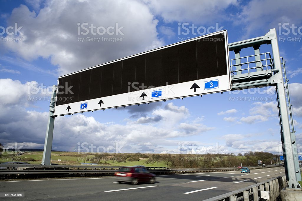 Overhead gantry sign - motorway, traffic information system royalty-free stock photo