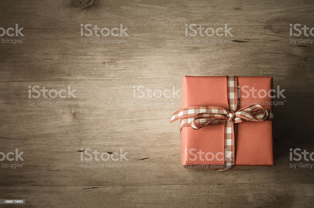 Overhead Gift Box on Wood stock photo