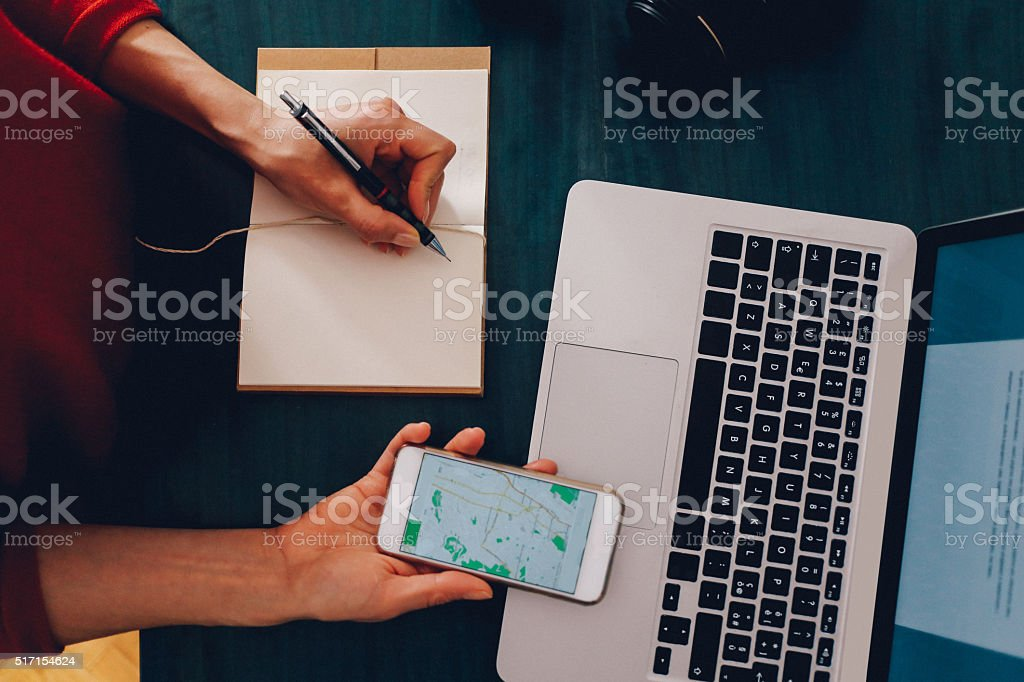 Overhead image of a workspace on the desk stock photo