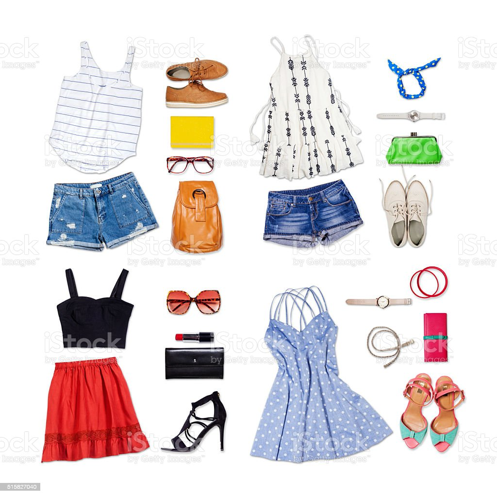 Overhead of clothes and woman accessories. stock photo
