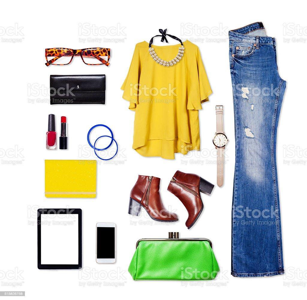 Overhead of essentials elegant woman. stock photo