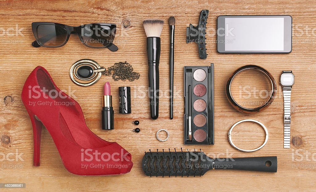 Overhead of essentials fashion woman objects. stock photo