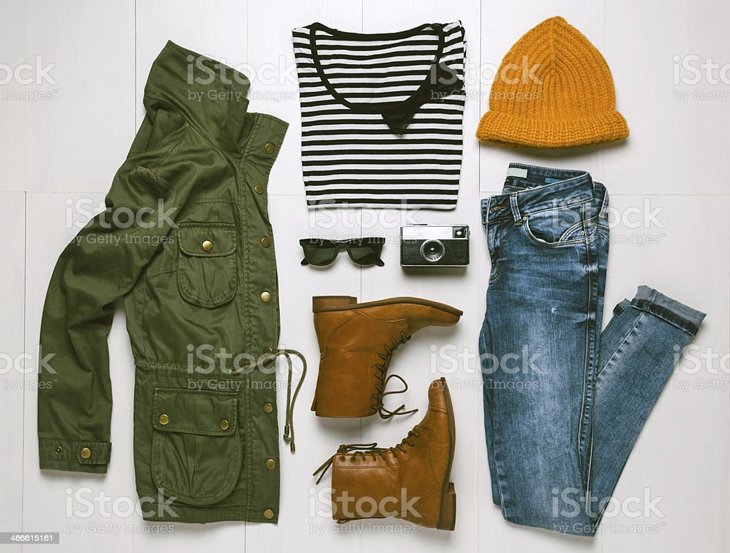 Overhead of essentials hipster woman. stock photo