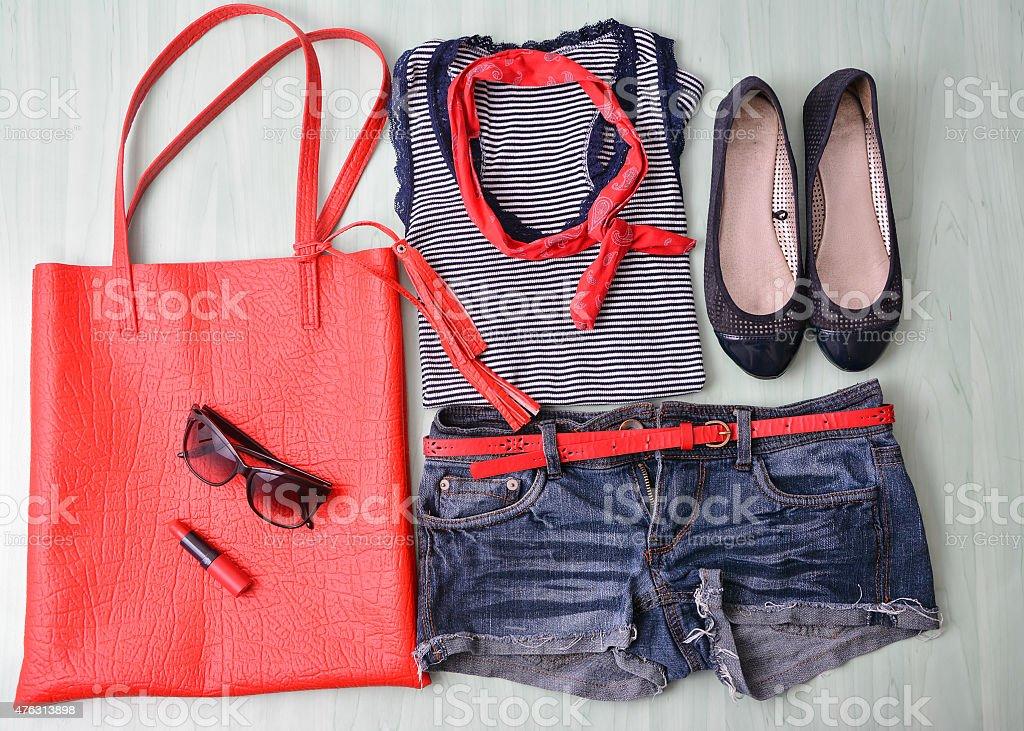 Overhead of essentials modern woman stock photo