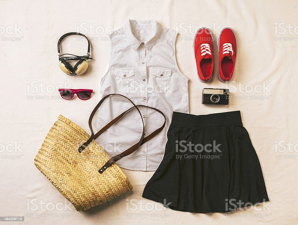 Overhead of essentials vintage woman. stock photo