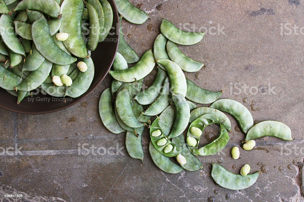 Overhead of Green Bean Pods in a Bowl stock photo