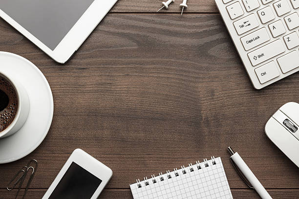 Office Desk Top View Pictures Images And Stock Photos Istock