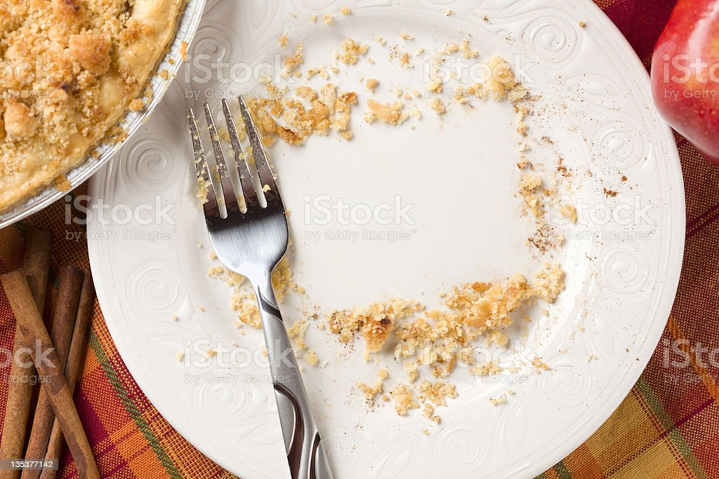 Overhead of Pie, Apple, Cinnamon, Copy Spaced Crumbs on Plate stock photo