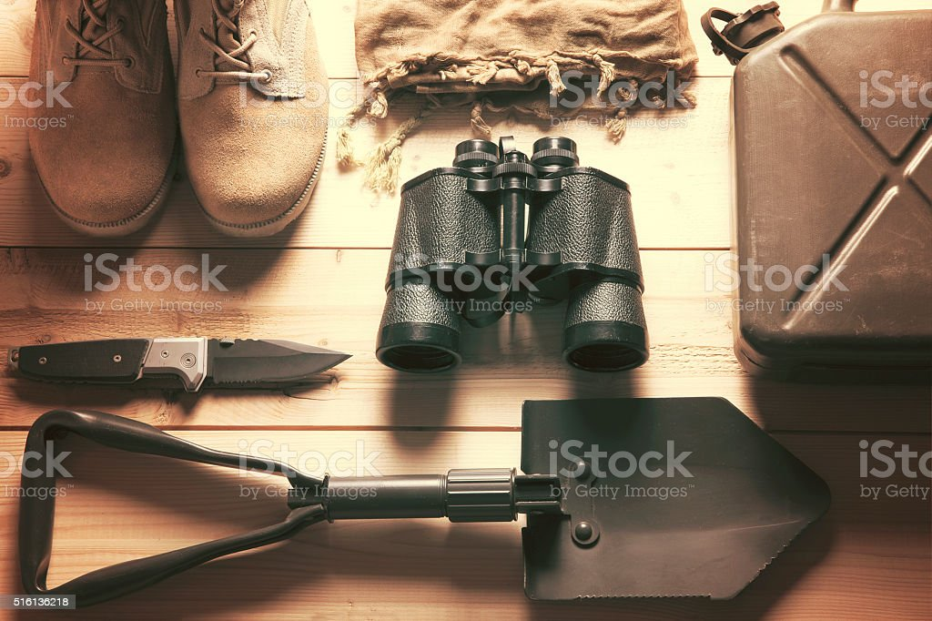 overhead of survival kit stock photo