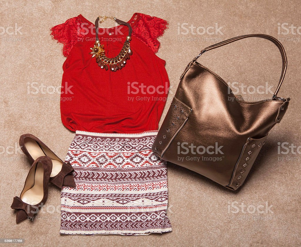 Overhead of  woman clothes stock photo
