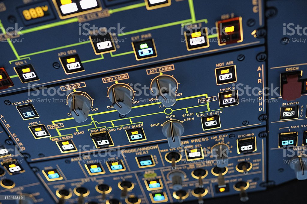 Overhead Panel inside the Cockpit of Modern Passenger AIrcraft stock photo