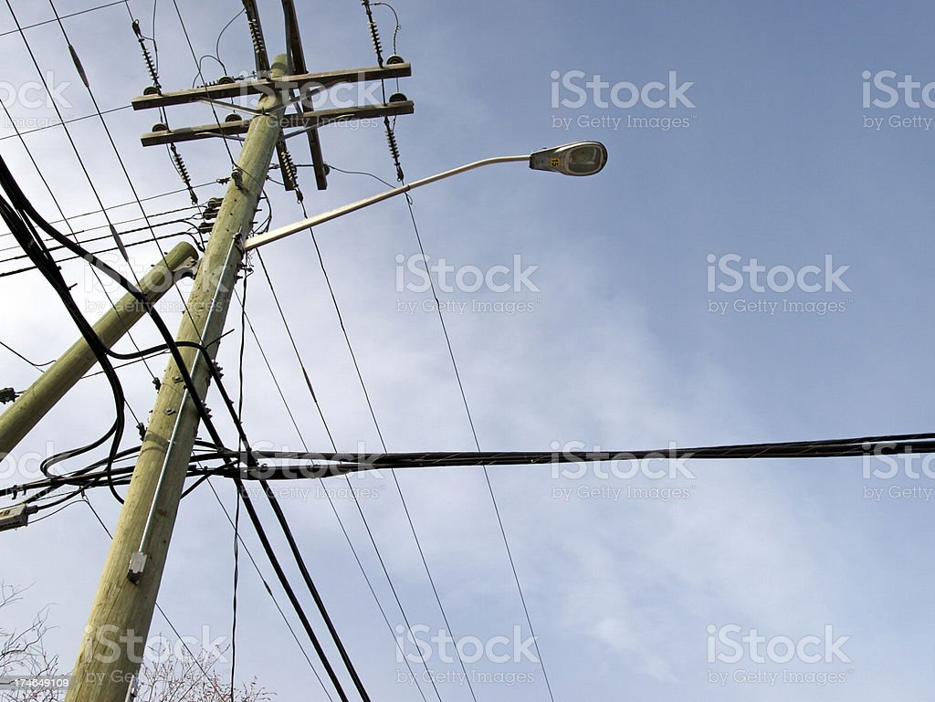 Overhead power cables & lights stock photo