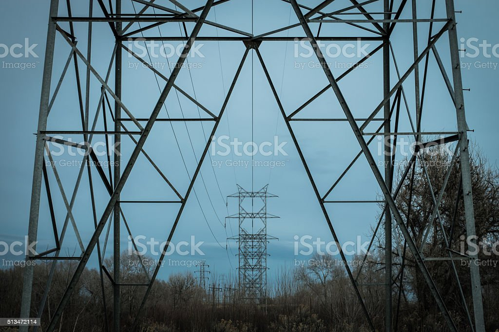 overhead power lines royalty-free stock photo