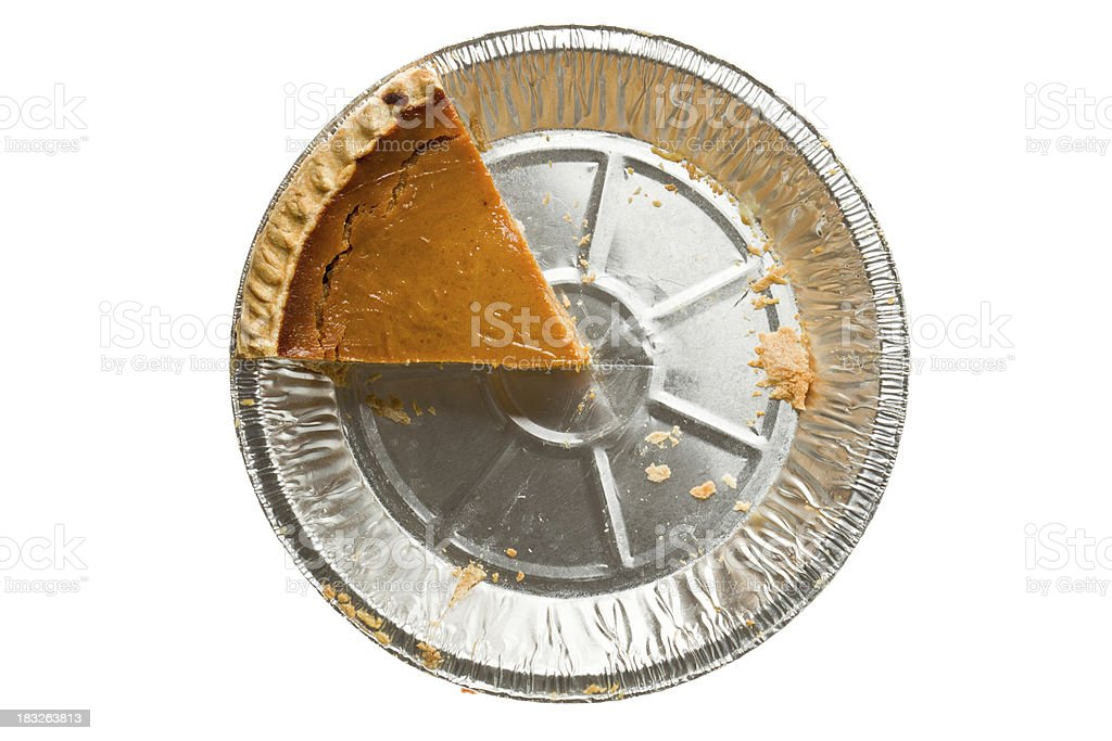 Overhead Pumpkin Pie One Piece Left Isolated royalty-free stock photo