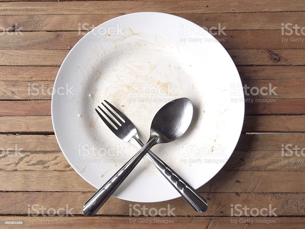 overhead shot of an empty dish stock photo