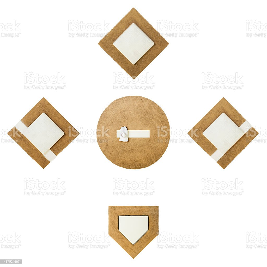 Overhead shot of Baseball Diamond Elements stock photo