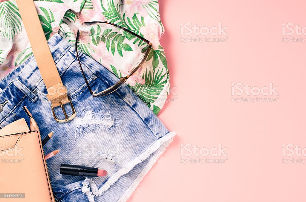 Overhead shot of female casual clothes stock photo