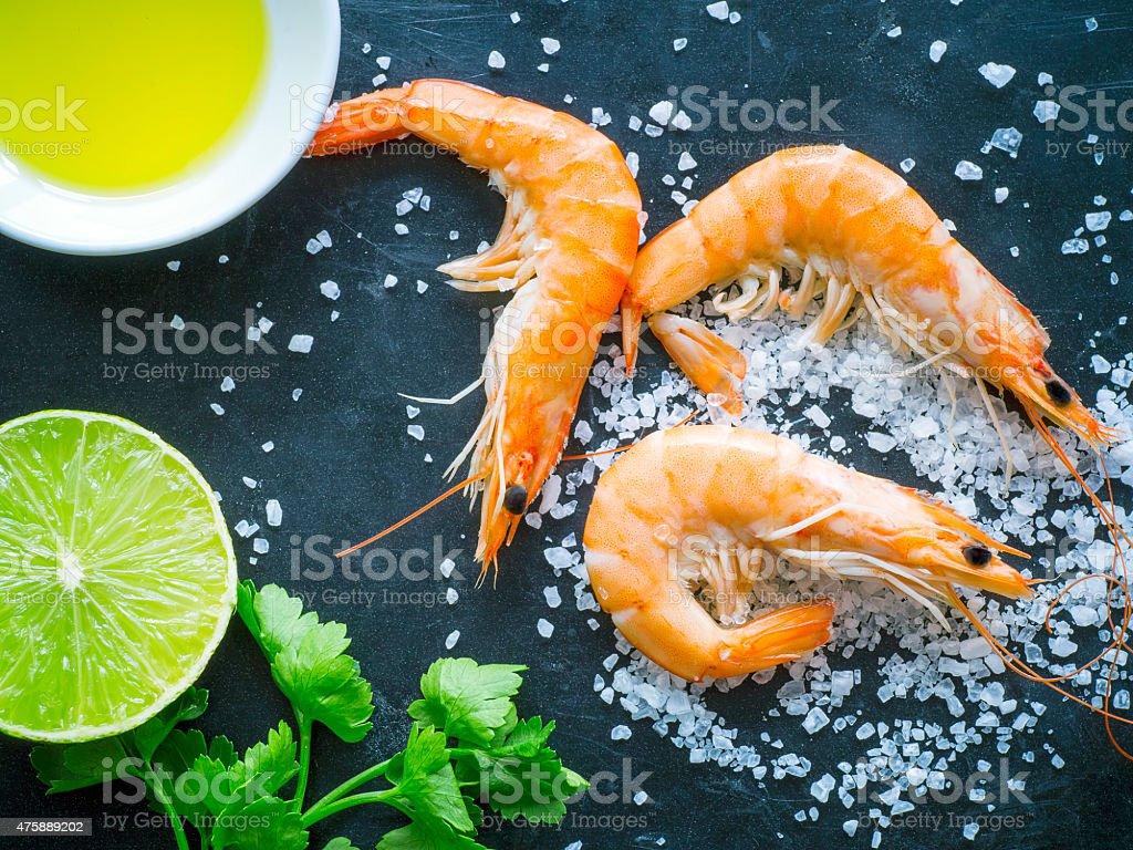 Overhead shot of shrimps stock photo