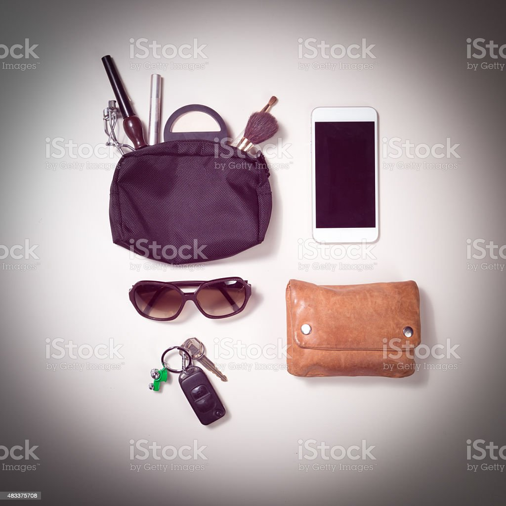 overhead shot of woman stuff isolated on white stock photo