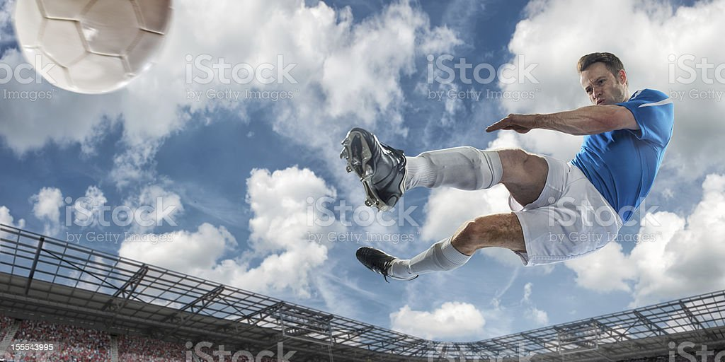 Overhead Soccer Kick royalty-free stock photo